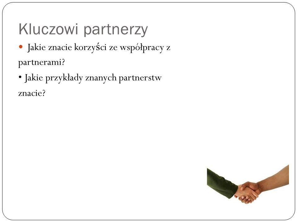 Kluczowi partnerzy Jakie znacie korzyści ze współpracy z partnerami