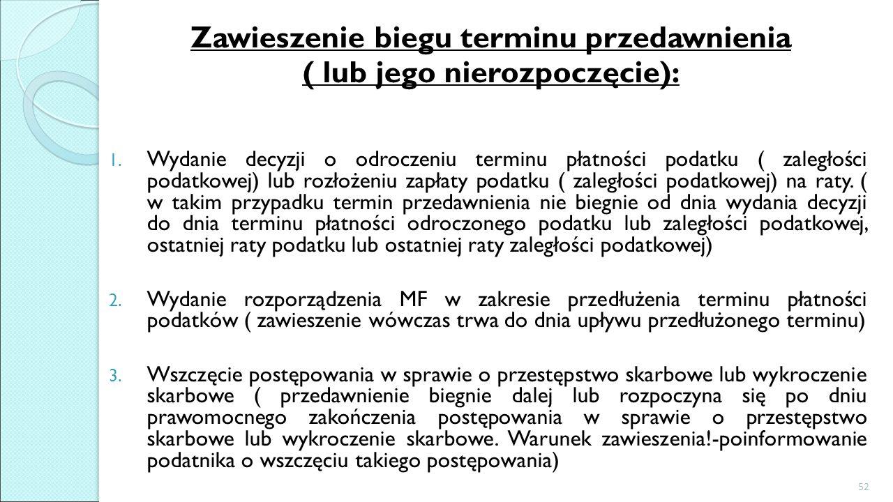 Zawieszenie biegu terminu przedawnienia ( lub jego nierozpoczęcie):