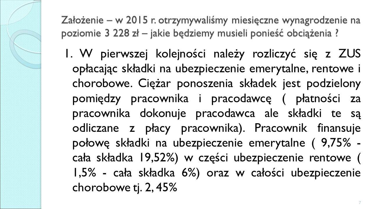 Założenie – w 2015 r. otrzymywaliśmy miesięczne wynagrodzenie na poziomie 3 228 zł – jakie będziemy musieli ponieść obciążenia