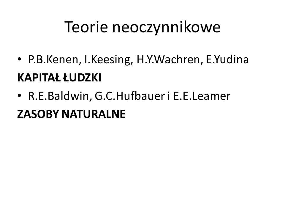 Teorie neoczynnikowe P.B.Kenen, I.Keesing, H.Y.Wachren, E.Yudina