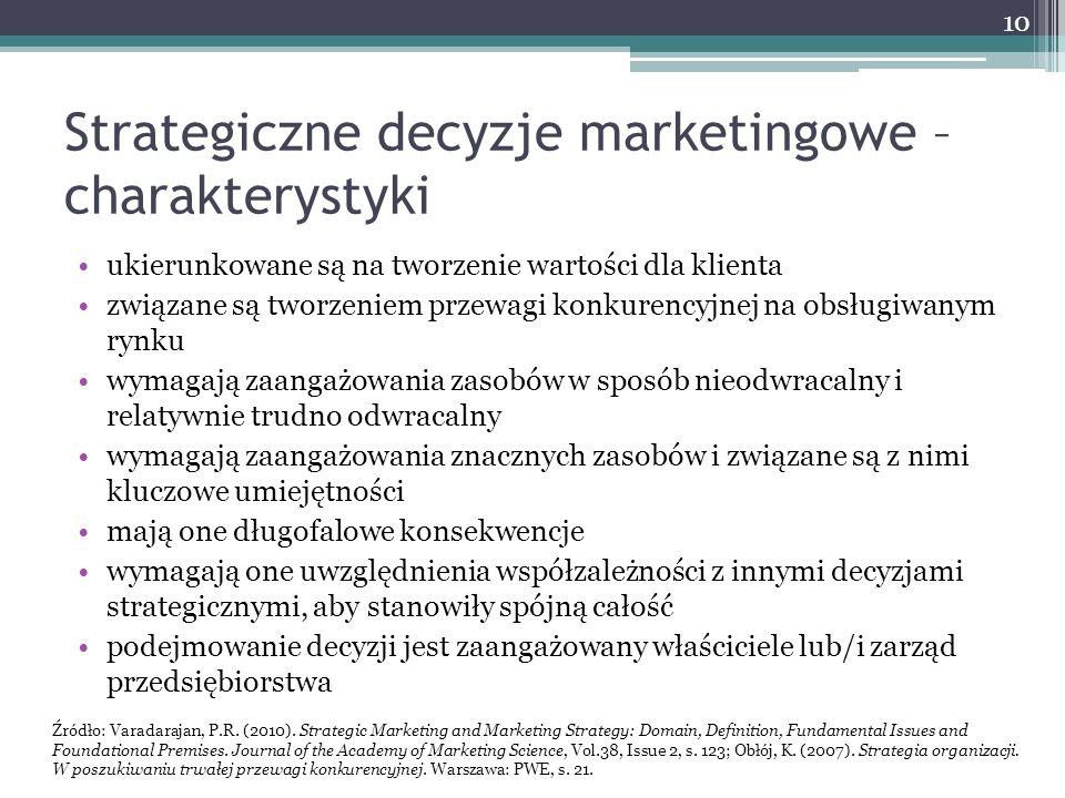 Strategiczne decyzje marketingowe – charakterystyki