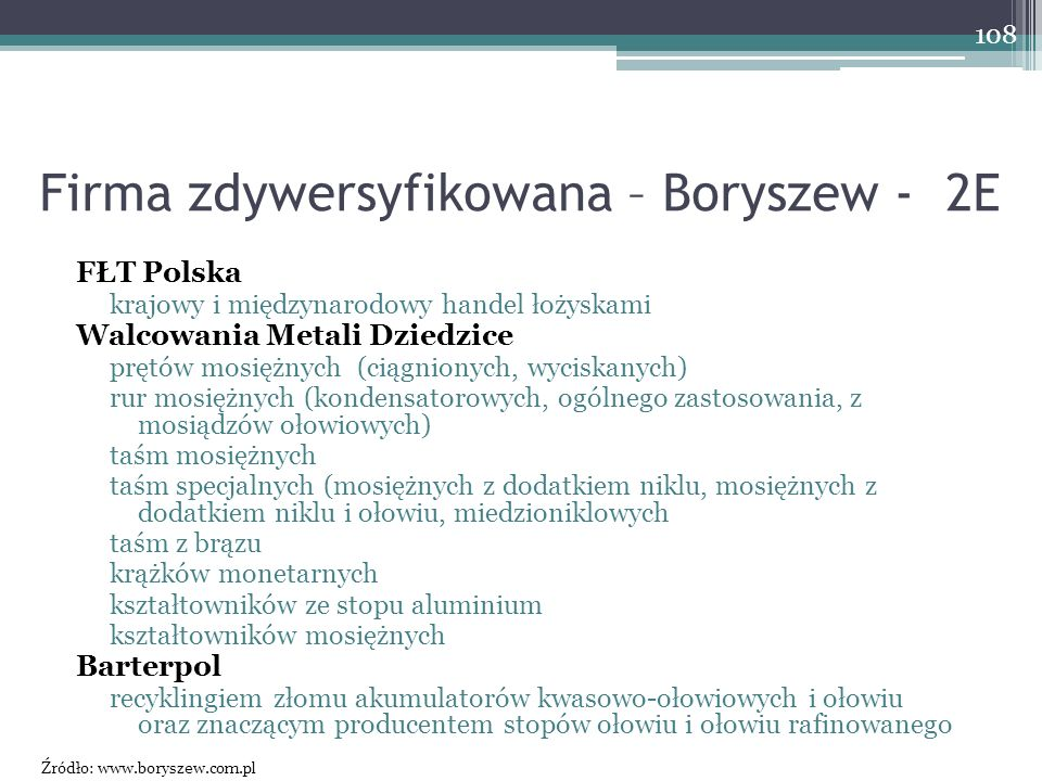 Firma zdywersyfikowana – Boryszew - 2E