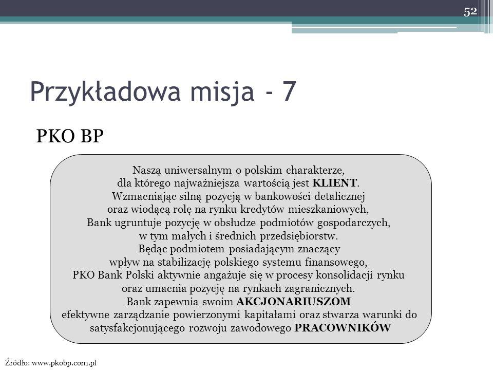 Przykładowa misja - 7 PKO BP Naszą uniwersalnym o polskim charakterze,
