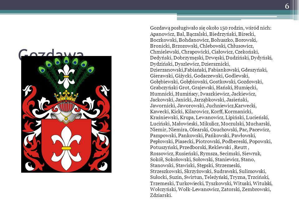 Gozdawą posługiwało się około 150 rodzin, wśród nich: Apanowicz, Bal, Bączalski, Biedrzyński, Birecki, Boczkowski, Bohdanowicz, Bohuszko, Borowski, Bronicki, Brzozowski, Chlebowski, Chłusowicz, Chmielewski, Chrapowicki, Ciałowicz, Czekoński, Dedyński, Dobrzymęski, Drwęski, Dudziński, Dydyński, Dydziński, Dyszlewicz, Dziersznicki, Dzierzanowski,Fabiański, Fabiankowski, Gdeszyński, Gierawski, Giżycki, Godaczewski, Godlewski, Gołębiewski, Gołębiowski, Gostkowski, Gozdowski, Grabczyński Grot, Grajewski, Hański, Humięcki, Humnicki, Humińscy, Iwaszkiewicz, Jackiewicz, Jackowski, Janicki, Jarząbkowski, Jasieński, Jawornicki, Jaworowski, Juchniewicz,Karwecki, Kawecki, Kicki, Kilarowicz, Korff, Kormanicki, Kraśniewski, Krupa, Lewanowicz, Lipiński, Lucieński, Luciński, Małowieski, Mikulicz, Moczulski, Mucharski, Niemir, Niemira, Olearski, Osuchowski, Pac, Pacewicz, Pampowski, Pankowski, Pańkowski, Pawłowski, Pepłowski, Piasecki, Piotrowski, Podbereski, Popowski, Potuszyński, Przedborski, Reklewski , Reutt , Rossowicz, Rusieński, Rymsza, Secimski, Siewruk, Sokół, Sokołowski, Sołowski, Staniewicz, Stano, Stanowski, Stawiski, Stępski, Strzemeski, Strzeszkowski, Skrzyżowski, Sudrawski, Sulimowski, Sułocki, Suzin, Swirtun, Teleżyński, Tryzna, Trzciński, Trzemeski, Turkowiecki, Tyszkowski, Wituski, Witulski, Wołczyński, Wołk-Lewanowicz, Zatorski, Zembrowski, Zdziarski.