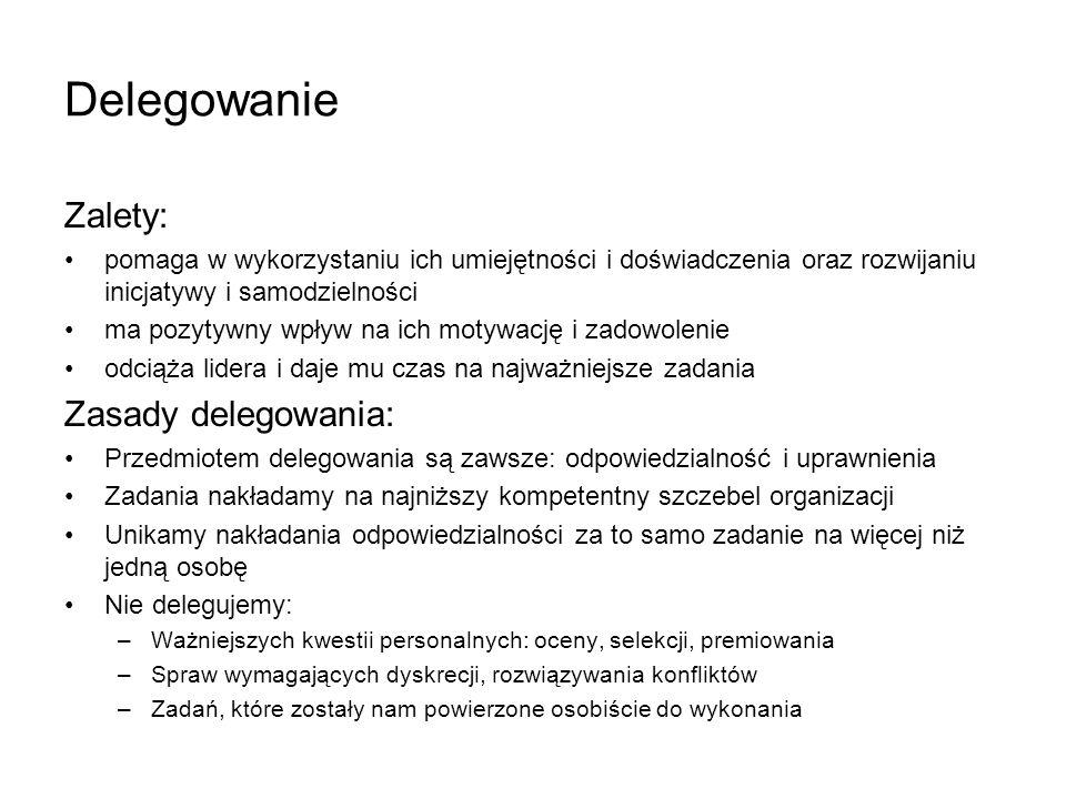 Delegowanie Zalety: Zasady delegowania: