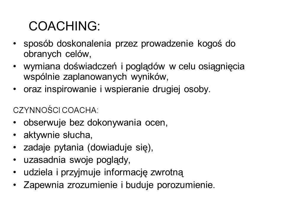 COACHING: sposób doskonalenia przez prowadzenie kogoś do obranych celów,