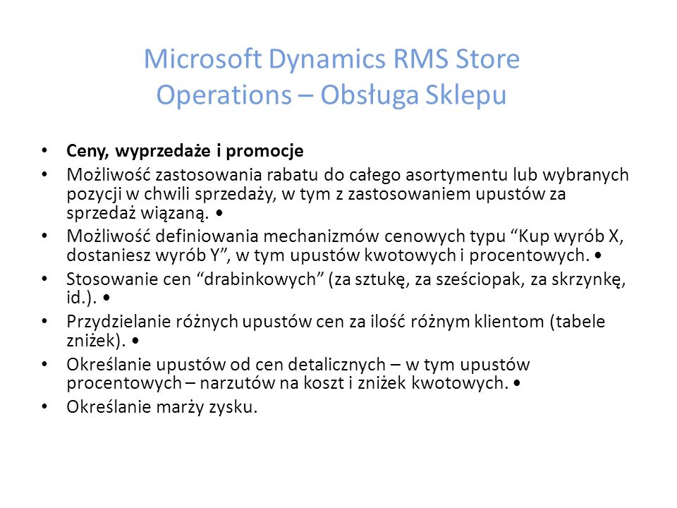 Microsoft Dynamics RMS Store Operations – Obsługa Sklepu