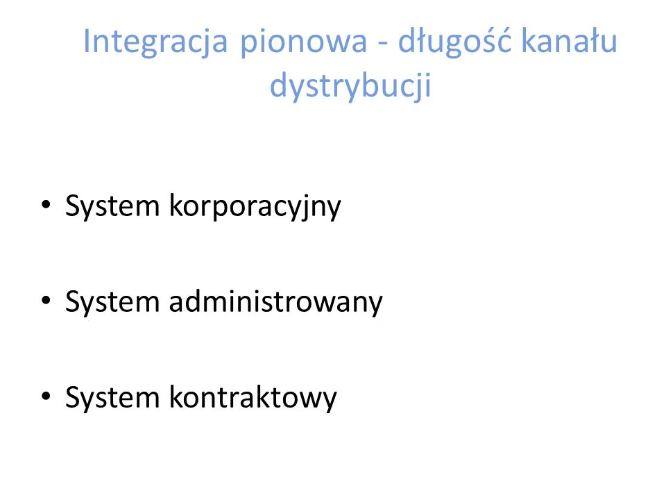 Integracja pionowa - długość kanału dystrybucji
