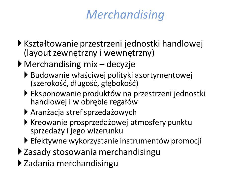 Merchandising Kształtowanie przestrzeni jednostki handlowej (layout zewnętrzny i wewnętrzny) Merchandising mix – decyzje.