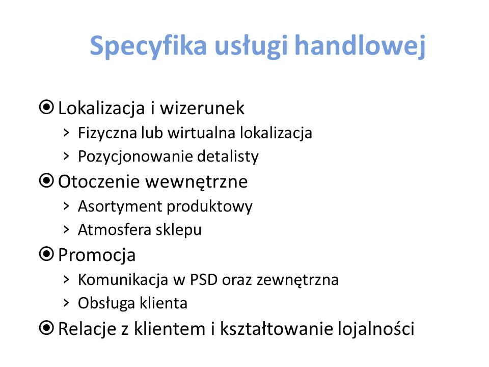 Specyfika usługi handlowej