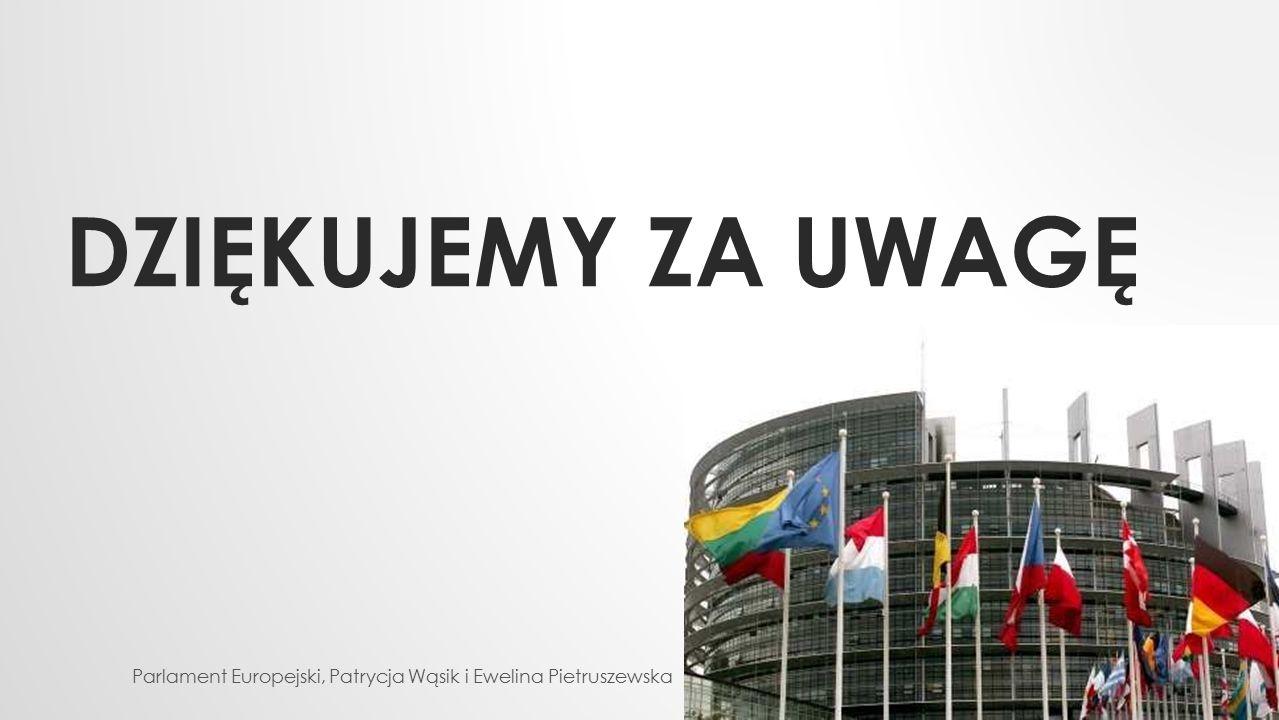 Dziękujemy za uwagę Parlament Europejski, Patrycja Wąsik i Ewelina Pietruszewska
