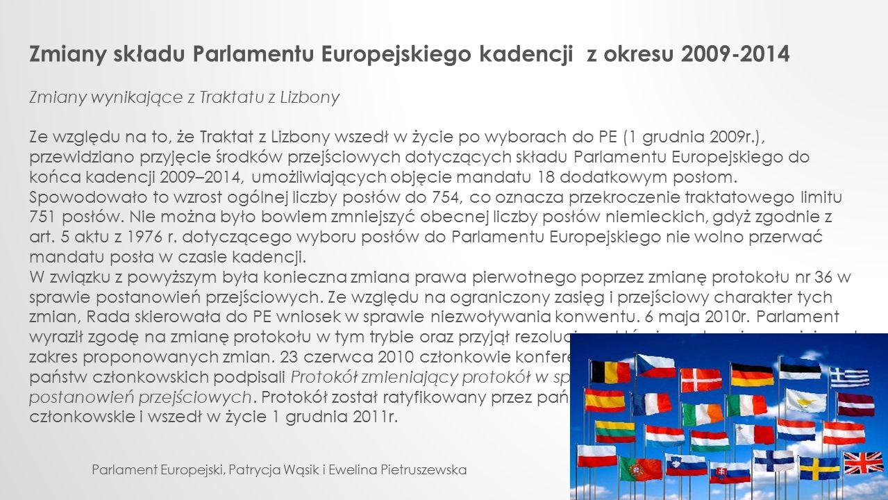 Zmiany składu Parlamentu Europejskiego kadencji z okresu 2009-2014