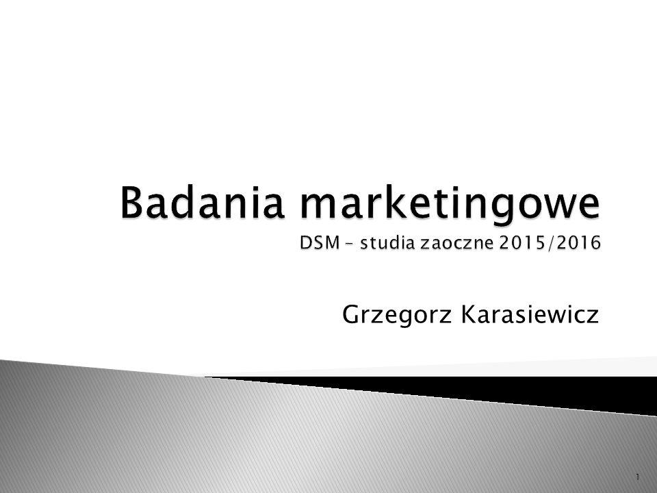 Badania marketingowe DSM – studia zaoczne 2015/2016