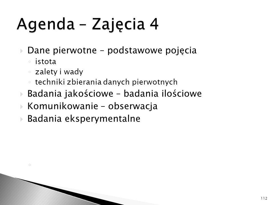 Agenda – Zajęcia 4 Dane pierwotne – podstawowe pojęcia