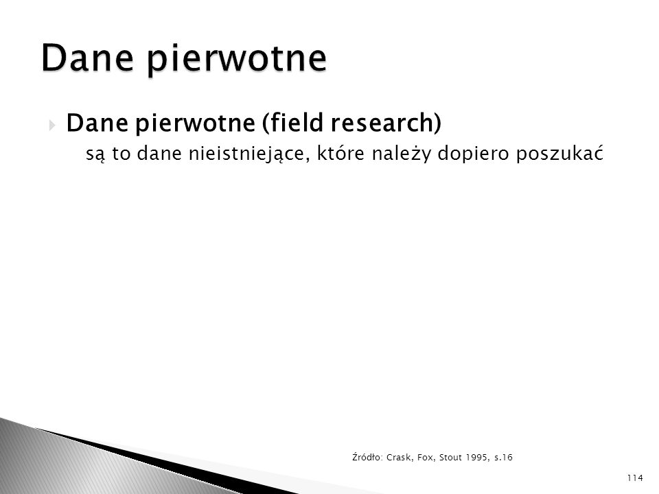 Dane pierwotne Dane pierwotne (field research)