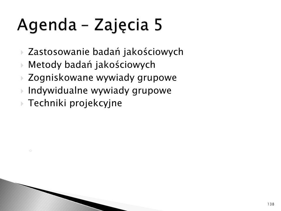 Agenda – Zajęcia 5 Zastosowanie badań jakościowych