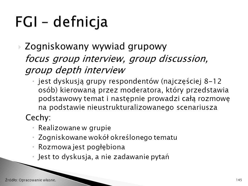 FGI – defnicja Zogniskowany wywiad grupowy
