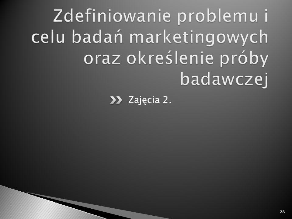 Zdefiniowanie problemu i celu badań marketingowych oraz określenie próby badawczej