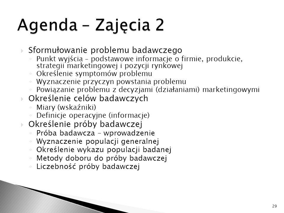 Agenda – Zajęcia 2 Sformułowanie problemu badawczego