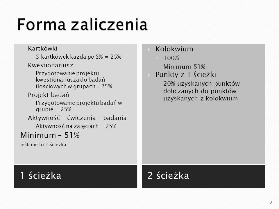 Forma zaliczenia 1 ścieżka 2 ścieżka Minimum – 51% Kolokwium