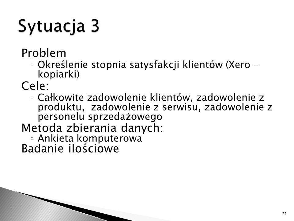 Sytuacja 3 Problem Cele: Metoda zbierania danych: Badanie ilościowe