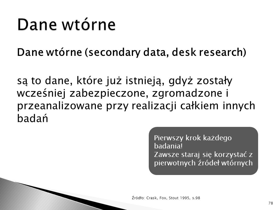 Dane wtórne Dane wtórne (secondary data, desk research)