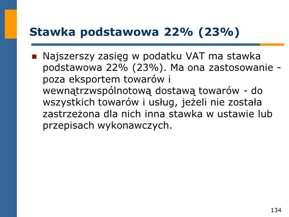 Stawka podstawowa 22% (23%)