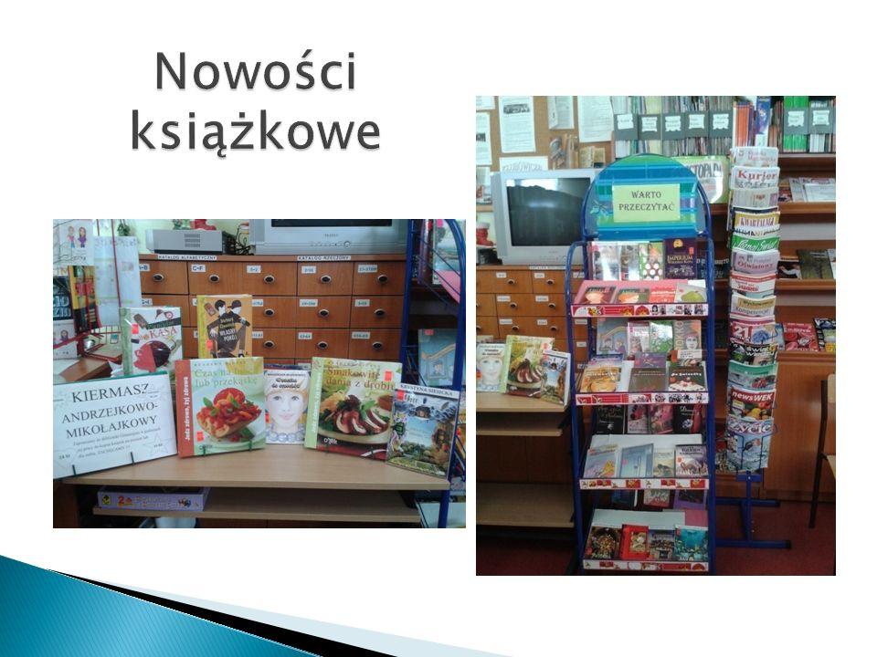 Nowości książkowe Pozyskiwane nowości czytelnicze to zakupione książki z funduszy uzyskanych ze sprzedaży na kiermaszu i dary czytelników.