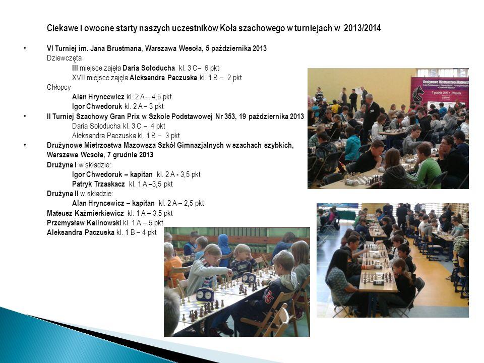 Ciekawe i owocne starty naszych uczestników Koła szachowego w turniejach w 2013/2014