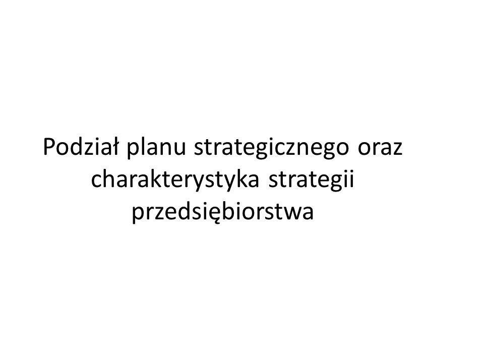 Podział planu strategicznego oraz charakterystyka strategii przedsiębiorstwa