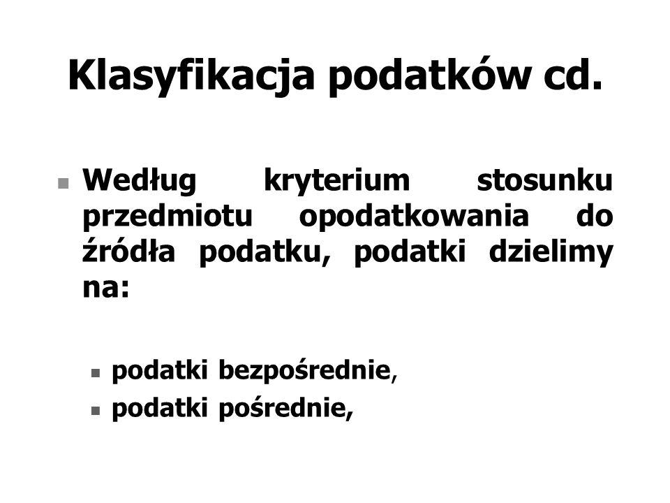 Klasyfikacja podatków cd.
