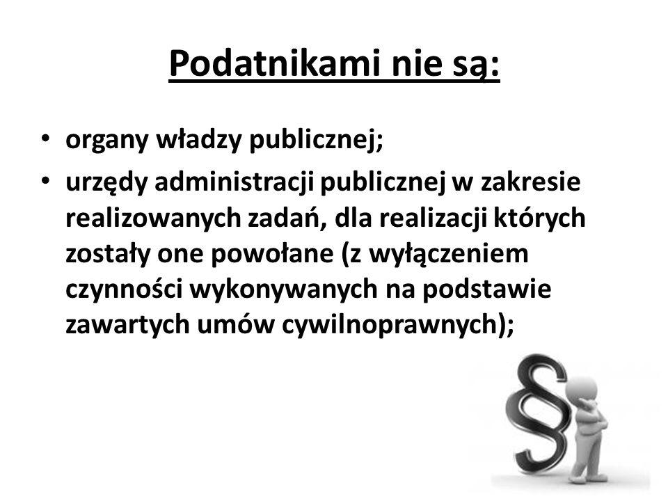 Podatnikami nie są: organy władzy publicznej;