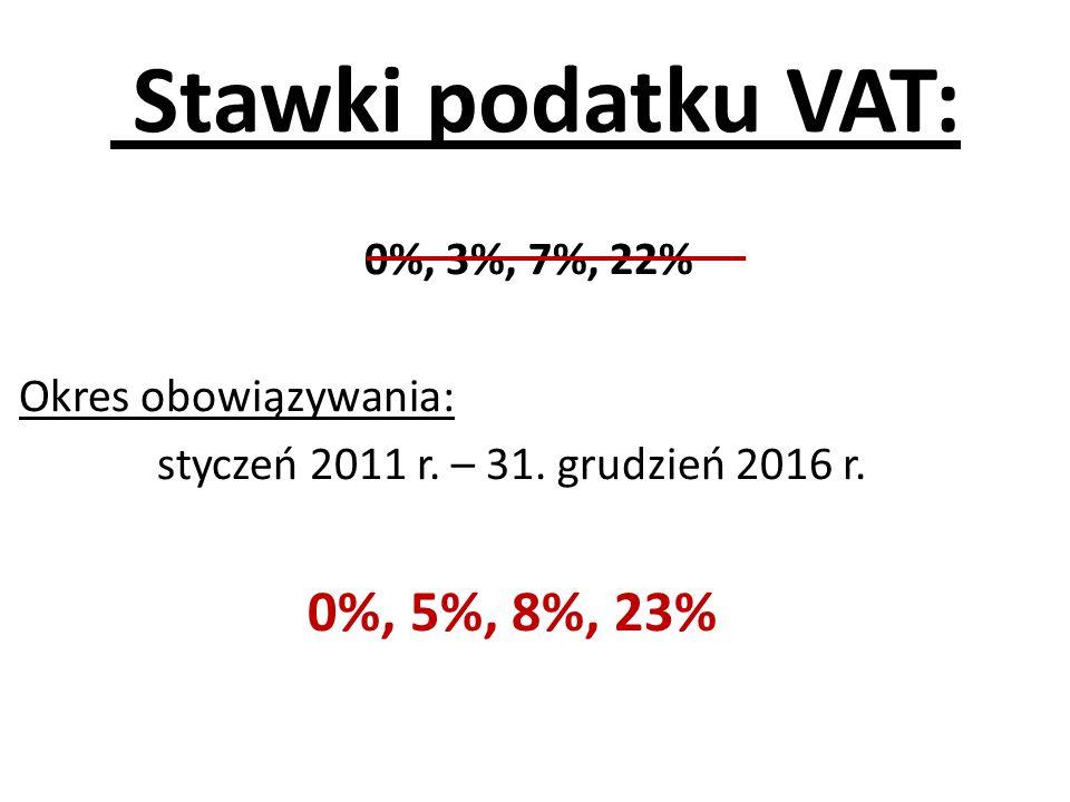 Stawki podatku VAT: 0%, 5%, 8%, 23% 0%, 3%, 7%, 22%