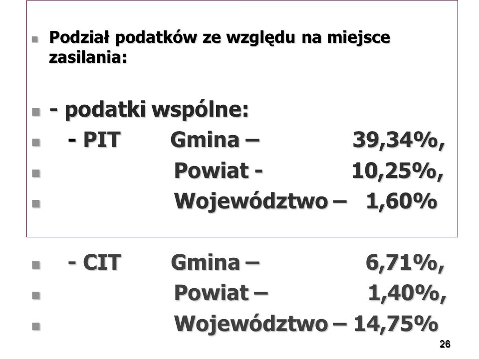- podatki wspólne: - PIT Gmina – 39,34%, Powiat - 10,25%,