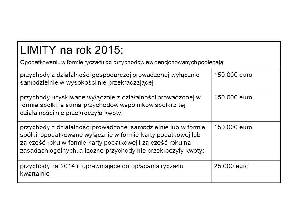 LIMITY na rok 2015: Opodatkowaniu w formie ryczałtu od przychodów ewidencjonowanych podlegają: