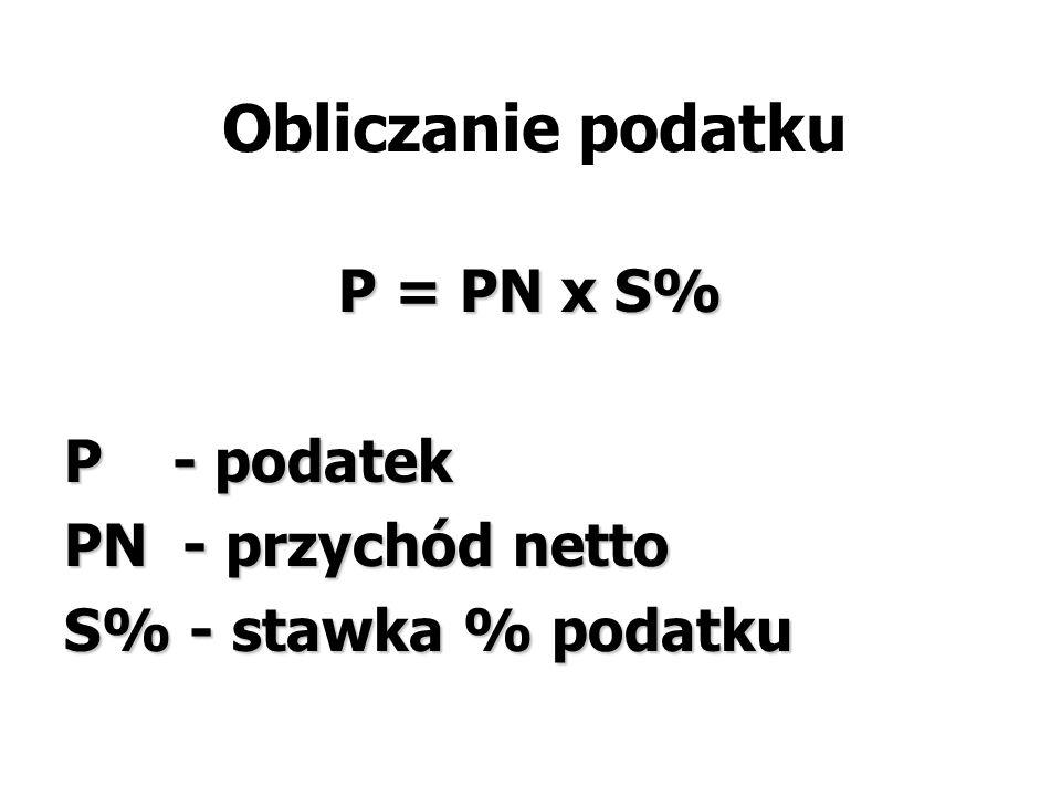 Obliczanie podatku P = PN x S% P - podatek PN - przychód netto