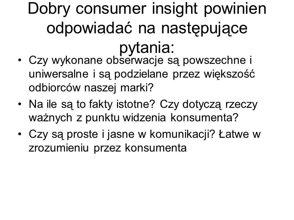 Dobry consumer insight powinien odpowiadać na następujące pytania: