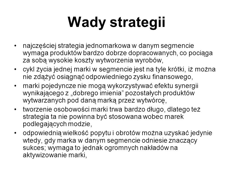 Wady strategii