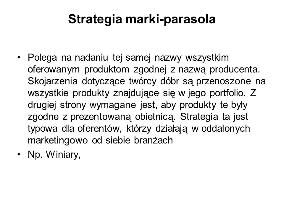 Strategia marki-parasola