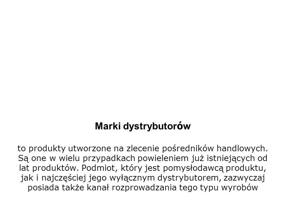 Marki dystrybutorów to produkty utworzone na zlecenie pośredników handlowych.
