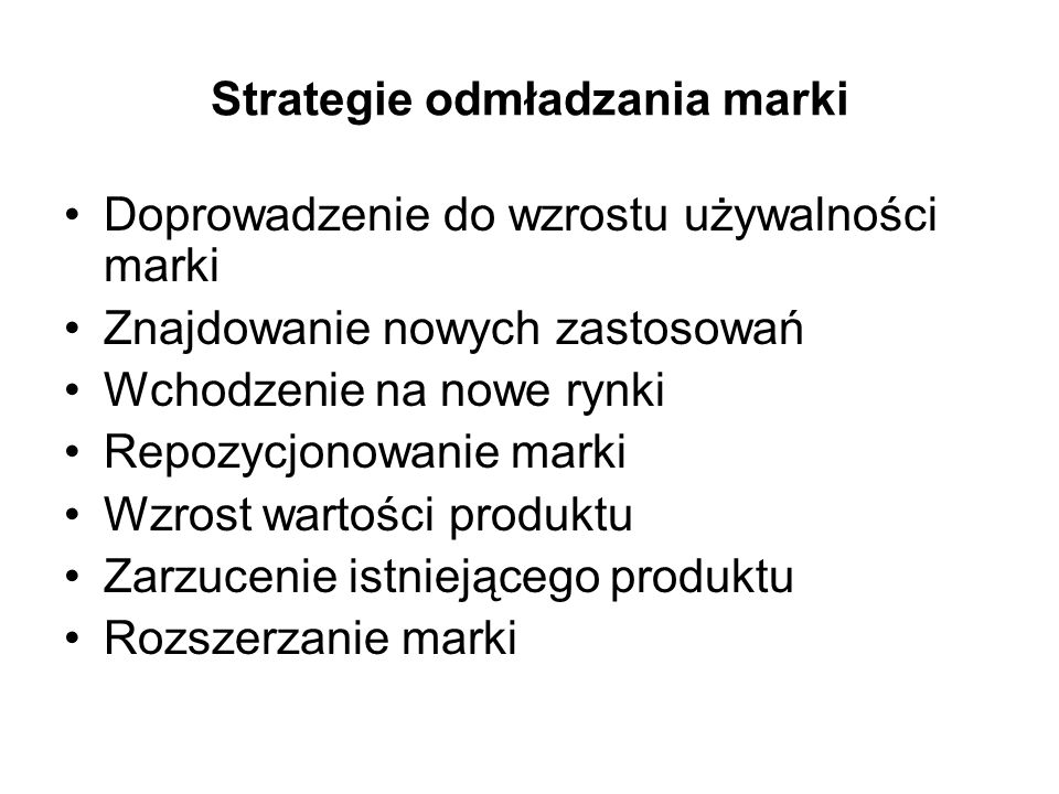 Strategie odmładzania marki