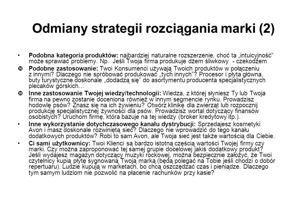 Odmiany strategii rozciągania marki (2)