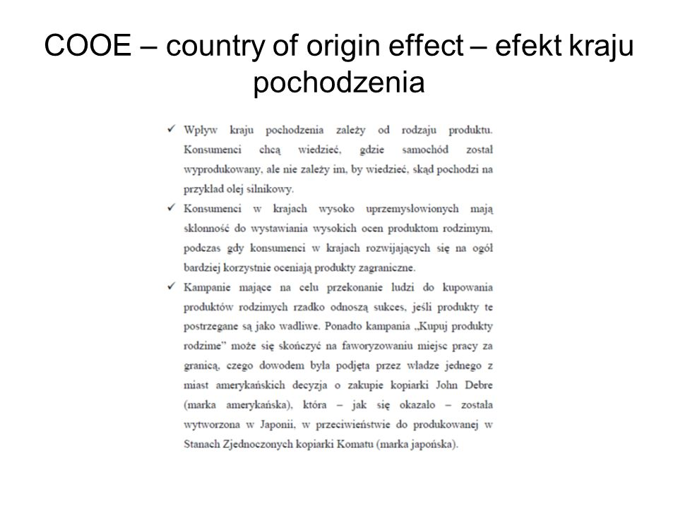 COOE – country of origin effect – efekt kraju pochodzenia