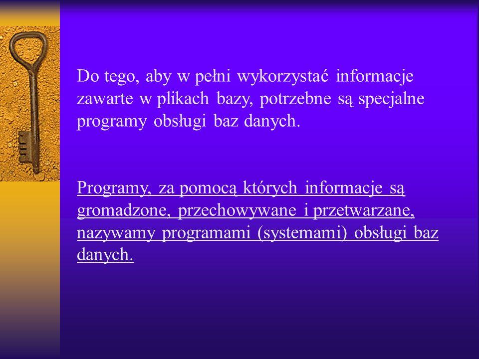 Do tego, aby w pełni wykorzystać informacje zawarte w plikach bazy, potrzebne są specjalne programy obsługi baz danych.