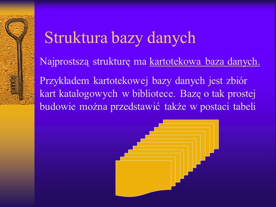 Struktura bazy danych Najprostszą strukturę ma kartotekowa baza danych.