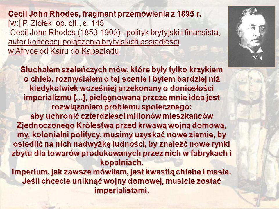 Cecil John Rhodes, fragment przemówienia z 1895 r.