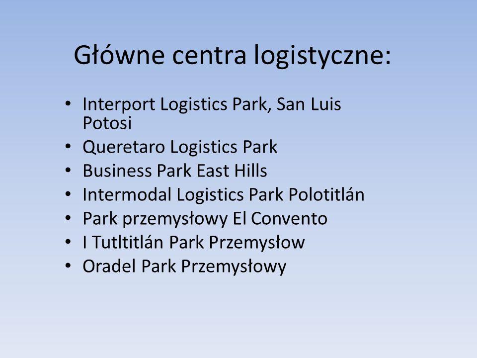 Główne centra logistyczne: