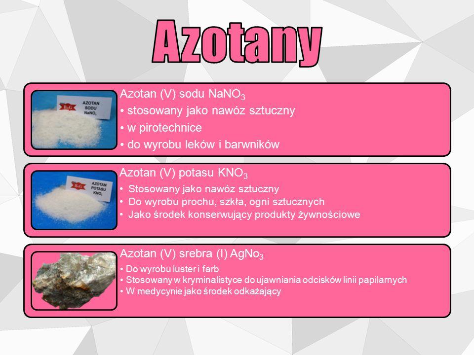 Azotany Azotan (V) sodu NaNO3 • stosowany jako nawóz sztuczny