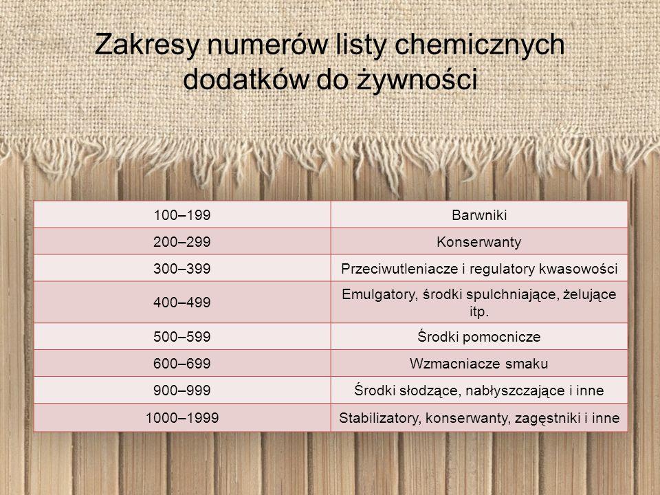 Zakresy numerów listy chemicznych dodatków do żywności