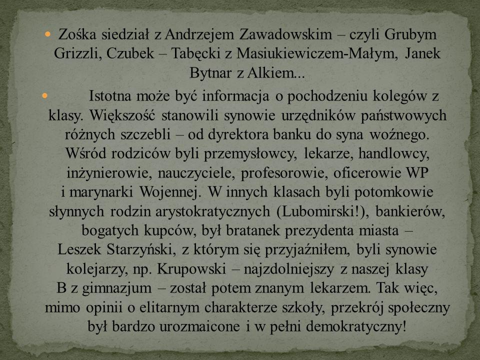 Zośka siedział z Andrzejem Zawadowskim – czyli Grubym Grizzli, Czubek – Tabęcki z Masiukiewiczem-Małym, Janek Bytnar z Alkiem...